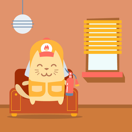 arm chair: Character firefighter in coveralls and helmet colorful flat.  Cat male sits on an arm  chair in the apartment holding a fire extinguisher