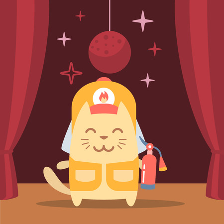 coveralls: Character firefighter in coveralls and helmet colorful flat. Cat male performs on stage holding a fire extinguisher Illustration