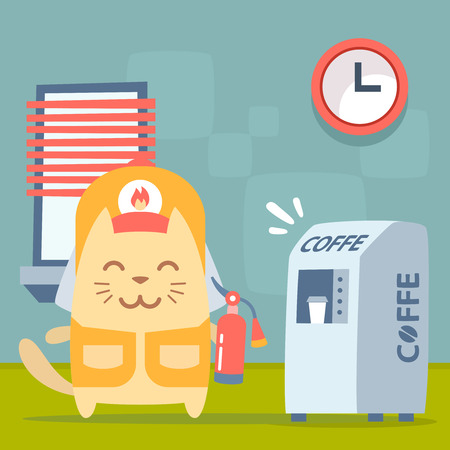coveralls: Character  firefighter in coveralls and helmet colorful flat. Cat male stands indoors near the coffee machine, coffee break  holding a fire extinguisher Illustration