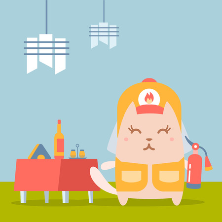 Character firefighter in coveralls and helmet colorful flat. Cat female stands in a cafe near decorated table holding a fire extinguisher Illustration