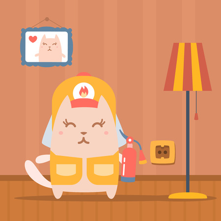 Character firefighter in coveralls and helmet colorful flat. Cat female stands in apartment near the lamp holding a fire extinguisher
