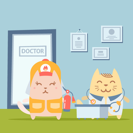 Character  firefighter in coveralls and helmet colorful flat. Cat female stands the doctors office at the table  holding a fire extinguisher