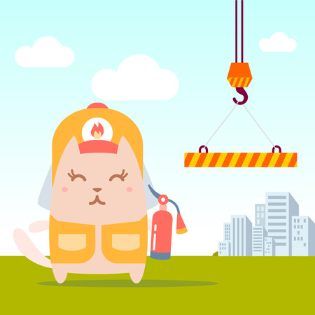 coveralls: Character firefighter in coveralls and helmet colorful flat. Cat female stands near the crane the holding a fire extinguisher Illustration