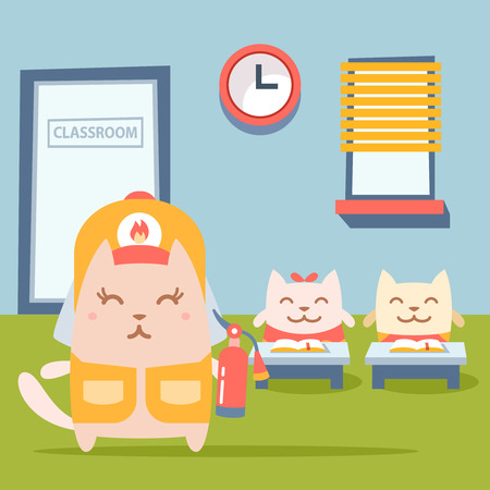 coveralls: Character firefighter in coveralls and helmet colorful flat. Cat female stands near desks in the classroom  holding a fire extinguisher