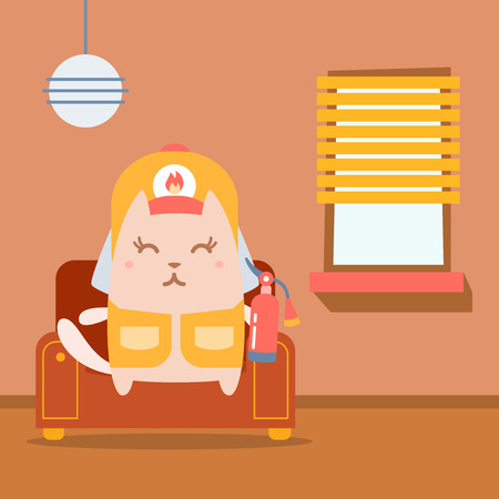arm chair: Character firefighter in coveralls and helmet colorful flat.  Cat female sits on an arm  chair in the apartment holding a fire extinguisher