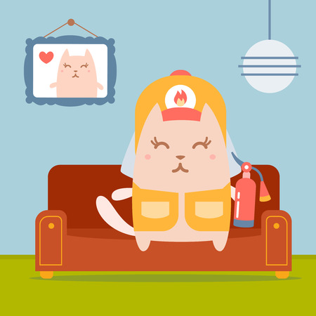 homely: Character firefighter in coveralls and helmet colorful flat.  Cat female sits on a couch in a comfortable flat holding a fire extinguisher