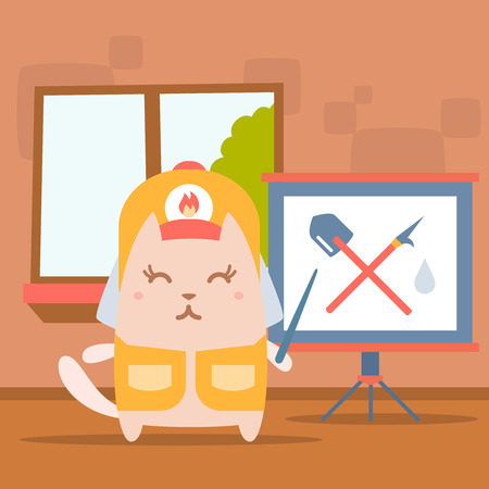Character firefighter in coveralls and helmet colorful flat. Cat female stands indoors with window near blackboard for notes holding a pointer show at gaff and shovel