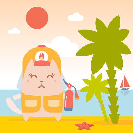 coveralls: Character firefighter in coveralls and helmet colorful flat. Cat female stands on the beach near the sea and palm trees holding a fire extinguisher Illustration