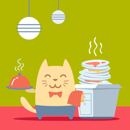 unwashed: Character  waiter uniform and bow tie colorful flat. Cat male stands in the kitchen near a pile of dirty dishes holding a towel and tray