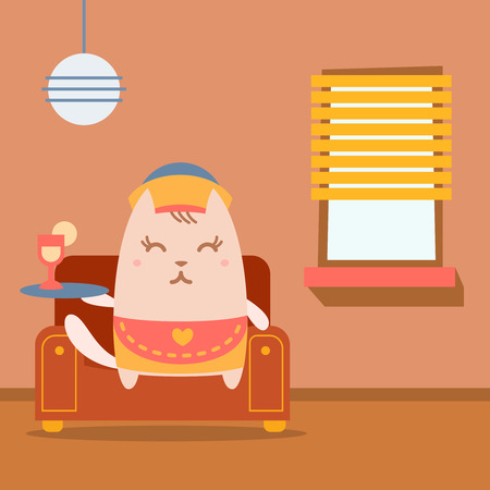 arm chair: Character waiter in uniform, apron  and hat colorful flat.  Cat female sits on an arm  chair in the apartment holding a tray Illustration