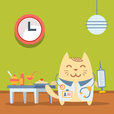 Character doctor in medical coat with a stethoscope colorful flat. Cat male stands in a cafe near the table with food holding a syringe