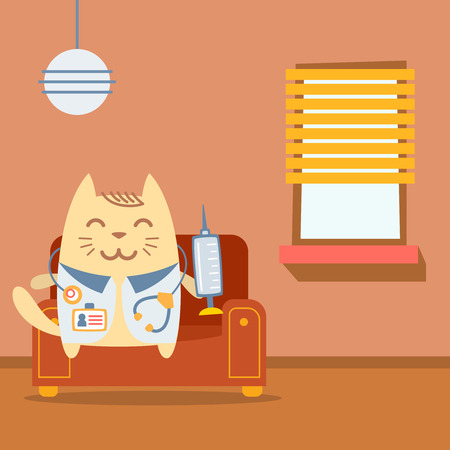arm chair: Character doctor in medical coat with a stethoscope colorful flat. Cat male sits on an arm chair in the apartment holding a syringe Illustration