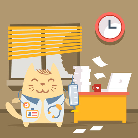 busy city: Character doctor in medical coat with a stethoscope colorful flat. Cat male stands indoors at the table with a laptop and piles of paper documents holding a syringe Illustration