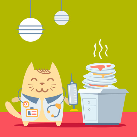 unwashed: Character doctor in medical coat with a stethoscope colorful flat. Cat male stands in the kitchen near a pile of dirty dishes holding a syringe