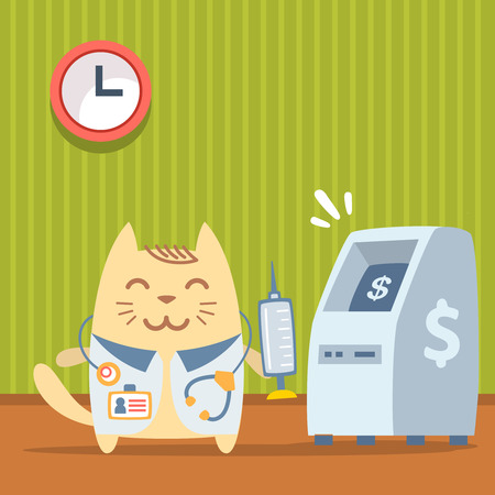 bankomat: Character doctor in medical coat with a stethoscope colorful flat. Cat male stands indoors near ATM  holding a syringe