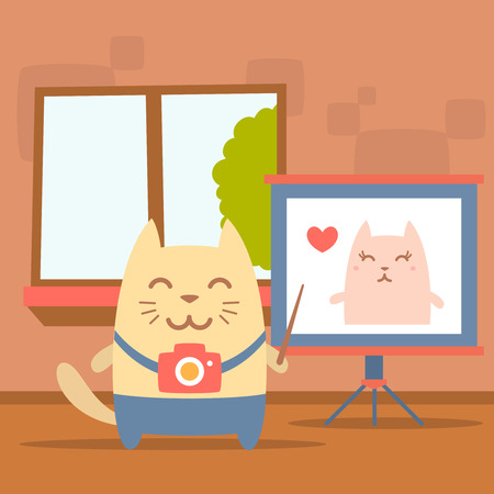 indoors: Character photographer with a camera colorful flat. Cat male stands indoors with window near blackboard for notes holding a pointer Illustration