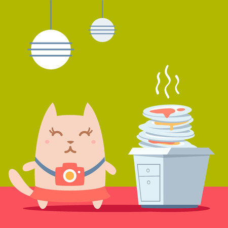 unwashed: Character photographer with a camera colorful flat. Cat female stands in the kitchen near a pile of dirty dishes