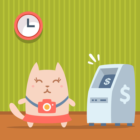 bankomat: Character  photographer with a camera colorful flat. Cat female stands indoors near ATM