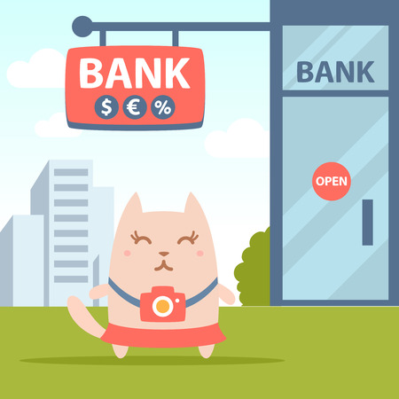 money cat: Character photographer with a camera colorful flat. Cat female stands near the entrance to a bank outside
