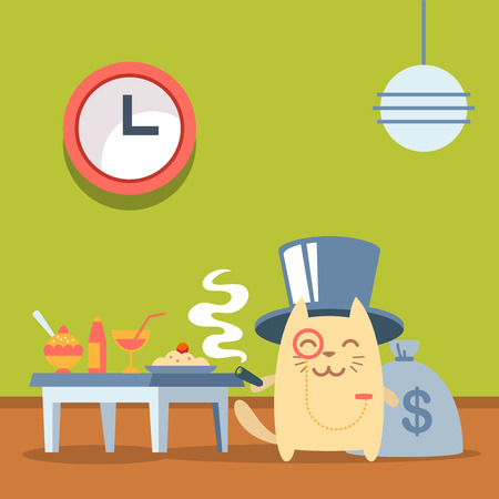 money cat: Character  rich gentleman in a hat cylinder and a monocle  colorful flat. Cat male stands in a cafe near the table with food holding a cigar