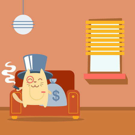 money cat: Character  rich gentleman in a hat cylinder and a monocle  colorful flat.  Cat male sits on an arm  chair in the apartment holding a cigar