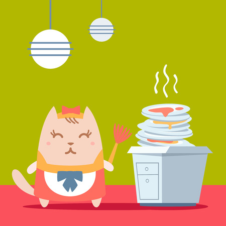 unwashed: Character maid apron with a bow colorful flat. Cat female stands in the kitchen near a pile of dirty dishes holding a whisk