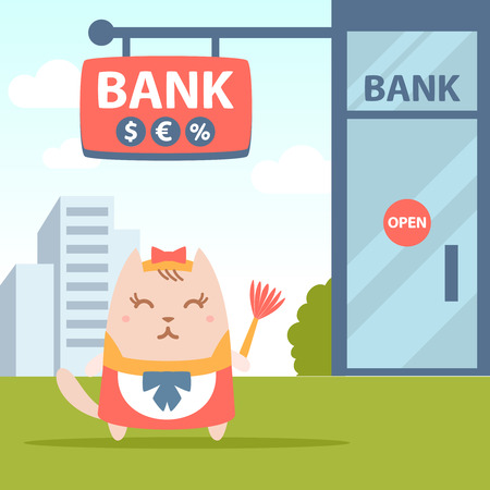 money cat: Character maid apron with a bow colorful flat. Cat female stands near the entrance to a bank outside holding a whisk