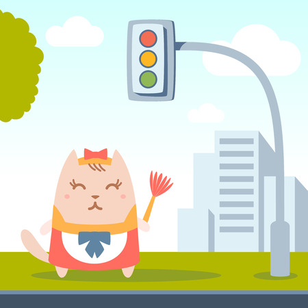 Character maid apron with a bow colorful flat. Cat female stands on a city street near the traffic lights holding a whisk