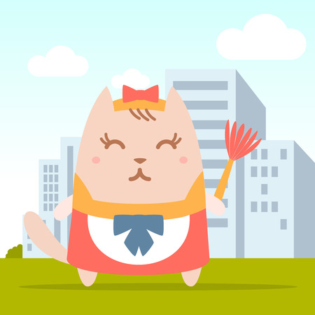 Character maid apron with a bow colorful flat. Cat female stands on the street outside the city holding a whisk