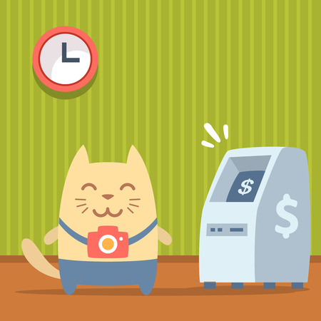 bankomat: Character  photographer with a camera colorful flat. Cat male stands indoors near ATM
