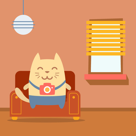 arm chair: Character photographer with a camera colorful flat.  Cat male sits on an arm  chair in the apartment