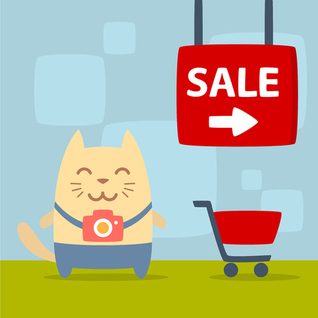 money cat: Character photographer with a camera colorful flat. Cat male stands in the store near the shopping cart