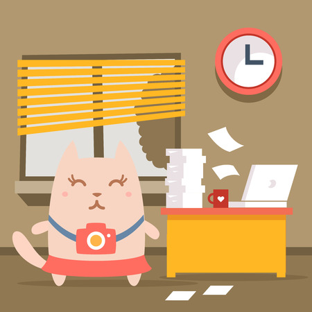 busy city: Character photographer with a camera colorful flat. Cat female stands indoors at the table with a laptop and piles of paper documents Illustration