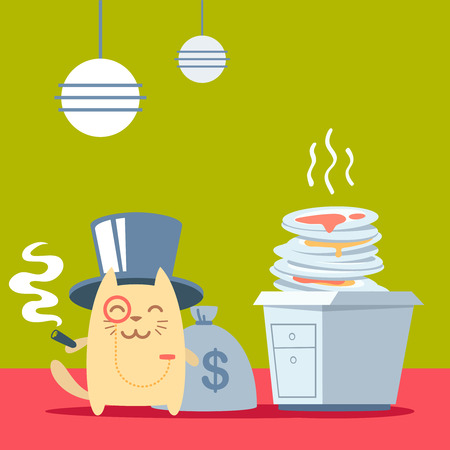 unwashed: Character  rich gentleman in a hat cylinder and a monocle  colorful flat. Cat male stands in the kitchen near a pile of dirty dishes holding a cigar Illustration