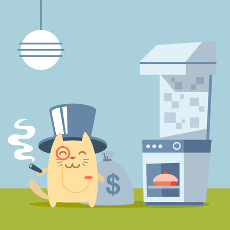 Character  rich gentleman in a hat cylinder and a monocle  colorful flat. Cat male stands in the kitchen near the stove holding a cigar Vector