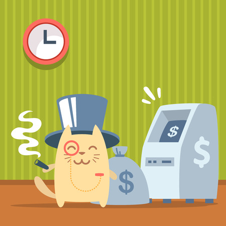 Character   rich gentleman in a hat cylinder and a monocle  colorful flat. Cat male stands indoors near ATM  holding a cigar Vector