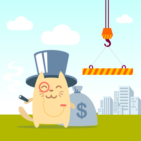 Character  rich gentleman in a hat cylinder and a monocle  colorful flat. Cat male stands near the crane on the street holding a cigar Vector
