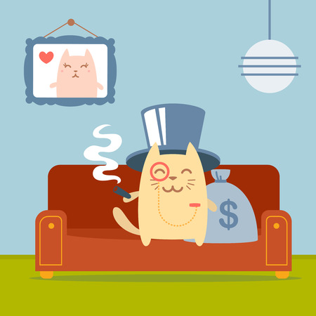 money cat: Character  rich gentleman in a hat cylinder and a monocle  colorful flat.  Cat male sits on a couch in a comfortable flat holding a cigar Illustration