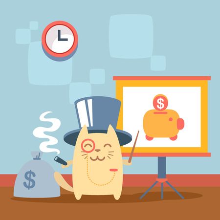 money cat: Character  rich gentleman in a hat cylinder and a monocle  colorful flat. Cat male stands indoors near blackboard for notes holding a cigar Illustration
