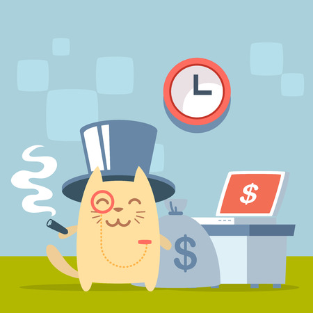 money cat: Character  rich gentleman in a hat cylinder and a monocle  colorful flat. Cat male stands indoors at the table with a laptop holding a cigar