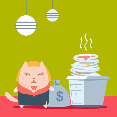 money cat: Car�cter rica dama en un abrigo de piel y un colorido collar plana. Mujer gato coloca en la cocina cerca de una pila de platos sucios