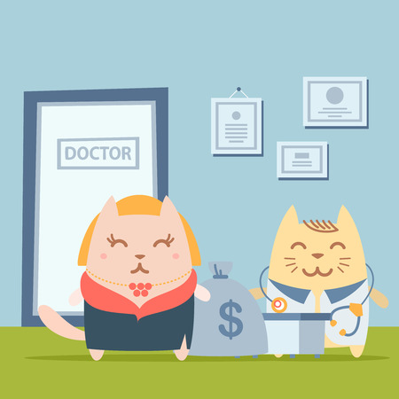 fur coat: Character   rich lady in a fur coat and a necklace colorful flat. Cat female stands the doctors office at the table