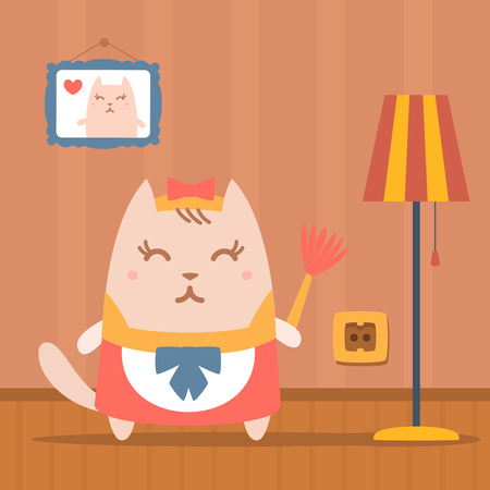 neatness: Character maid apron with a bow colorful flat. Cat female stands in apartment near the lamp holding a whisk