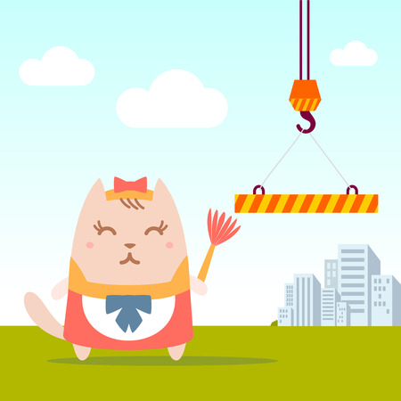 Character maid apron with a bow colorful flat. Cat female stands near the crane on the street holding a whisk