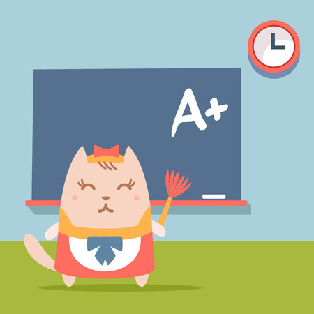 Character maid apron with a bow colorful flat. Cat female stands near blackboard in classroom holding a whisk Illustration