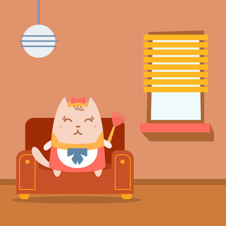 arm chair: Character maid apron with a bow colorful flat. Cat female sits on an arm chair in the apartment holding a whisk Illustration