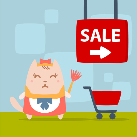 neatness: Character maid apron with a bow colorful flat. Cat female stands in the store near the shopping cart holding a whisk