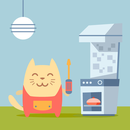 neatness: Character  home handyman in uniform colorful flat. Cat male stands in the kitchen near the stove holding  a screwdriver