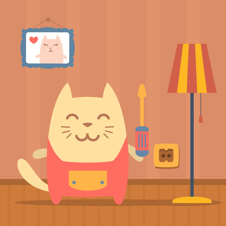 neatness: Character  home handyman in uniform colorful flat. Cat male stands in apartment near the lamp holding  a screwdriver