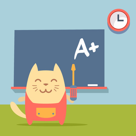 neatness: Character  home handyman in uniform colorful flat.  Cat male stands near blackboard in classroom holding  a screwdriver